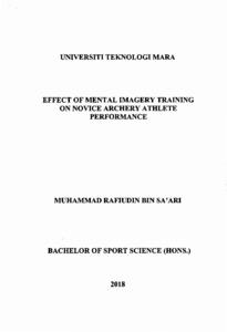 Effect of mental imagery training on novice archery athlete